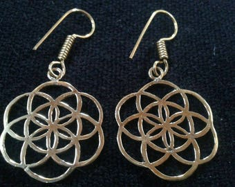 Sacred Geometry/Seed of life Brass Drop Earrings