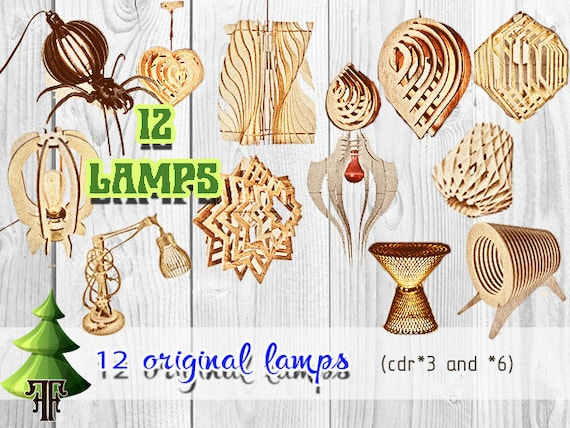 12 Lamps Template Cutting File Laser And Cnc Router Cutting Etsy
