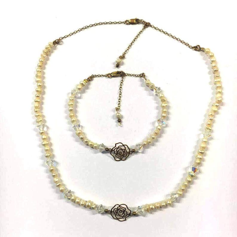Freshwater Pearl set Crystals set Unique gift  for her Pearl jewelry Goldfield set Wedding jewelry Pearls Bride gift Bridal jewelry