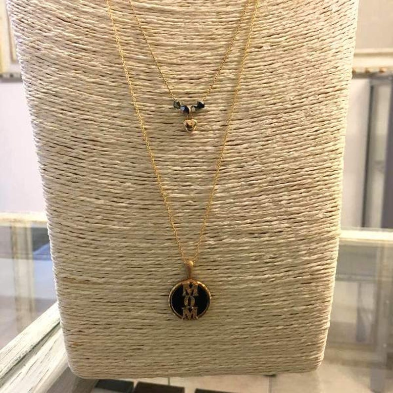 Gold filled pendant Heart Necklace Mom necklace Mothers day gift Gift for mom Mother Neacklace Onyx pendant Double strand neckllace
