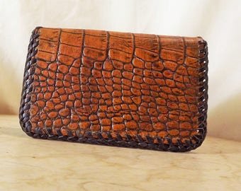 SNAPPERHEAD small brown alligator embossed leather credit card wallet, credit card billfold