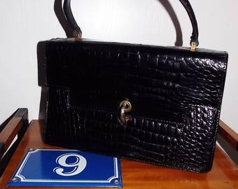 Vintage french black leather bag crocodile