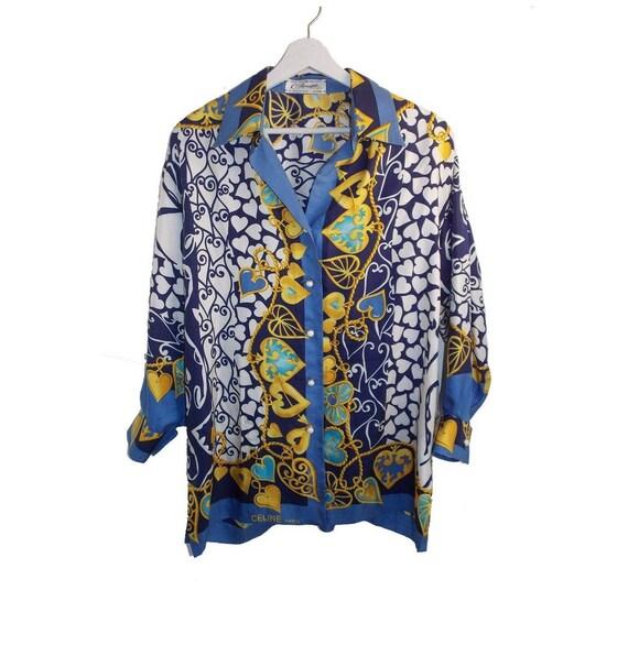 Céline Paris blouse  french designer silk scarves