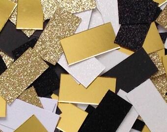 Gatsby Confetti #2 (90 pieces); rectangle shape, black, white, gold, foil, glitter Active