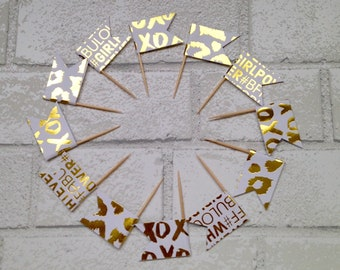 White & gold party picks (12 count): food picks -flack picks - cupcake toppers - party - girls birthday - girly decorations - gold foil