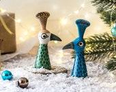 Peacock Salt and Pepper Shakers, handmade pottery salt and peppers designed in the UK by Hannah Turner. Peacock Cruet set gift, bird lover