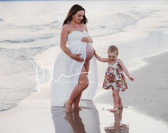 White Maternity dress for photo shoot. Split Front Maternity dress. Maxi maternity Dress~ Baby Shower dress~ Fitted Dress made with Chiffon