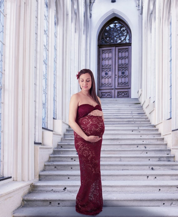 Burgundy Red Maternity Dress for photo shoot Maternity gown | Etsy