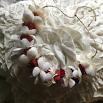 Festive Christmas Flower Head Wreath- Off-white Red and Green Flower Crown - Holiday Flower Crown