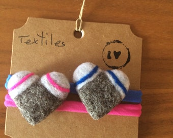 Elastic pink and blue needle felted heart