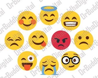Sale! Emoji SVG Collection 2 - Emoji DXF - Emoji Clipart - Svg Files for Silhouette Cameo or Cricut