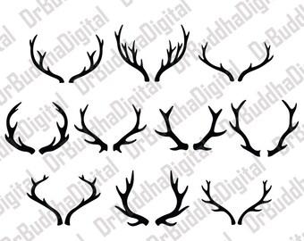 Sale! Deer Antler SVG Collection - Deer Horn DXF - Antler Clipart - SVG Files for Silhouette Cameo or Cricut