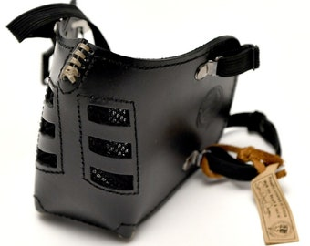 "Leather MasK ""killer bugs"" [Sub Zero] by SanDiegoChopper [All Black] (black leather black seams) caferacer / bratstyle / chopper"