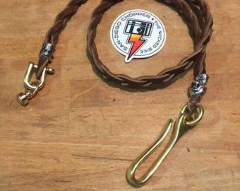 Chain wallet (leather braided wallet chain) CBW #brown braided