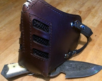 """Leather MasK """"killer bugs"""" [Sub Zero] by SanDiegoChopper [All brown] (brown leather brown seams) biker / caferacer / chopper"""