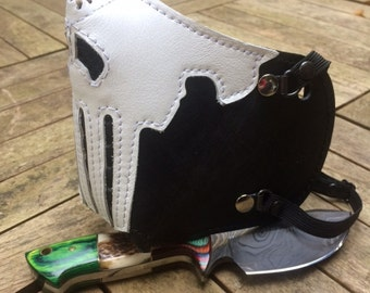 """MasK """"killer bugs"""" [The Punisher] by SanDiegoChopper (black leather scratched - White) biker / caferacer / bratstyle / chopper"""