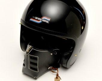 "Leather MasK ""killer bugs"" [Sub Zero] by SanDiegoChopper (black leather white seams) caferacer / chopper / steampunk / cosplay"