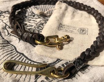 Braided wallet chain CBW-brown