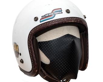 masque moto cuir perforé