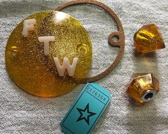 FTW set : licence plate jewels + phosphorescent Points Cover for Harley Sportster XL , Evolution Big Twins (Shovelhead, Evo) /2176354