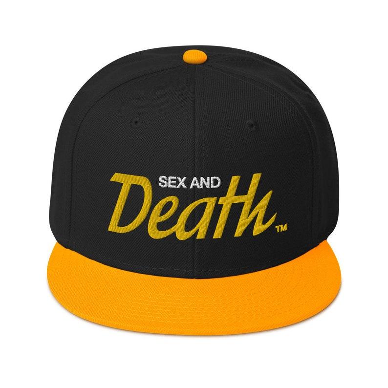 Sex & Death Script Logo Snapback Hat Gold / Black / Black