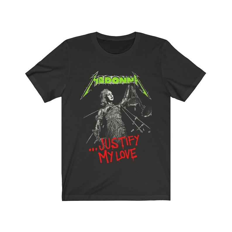 Madonna x Metallica Justify My Love Parody T-Shirt image 0