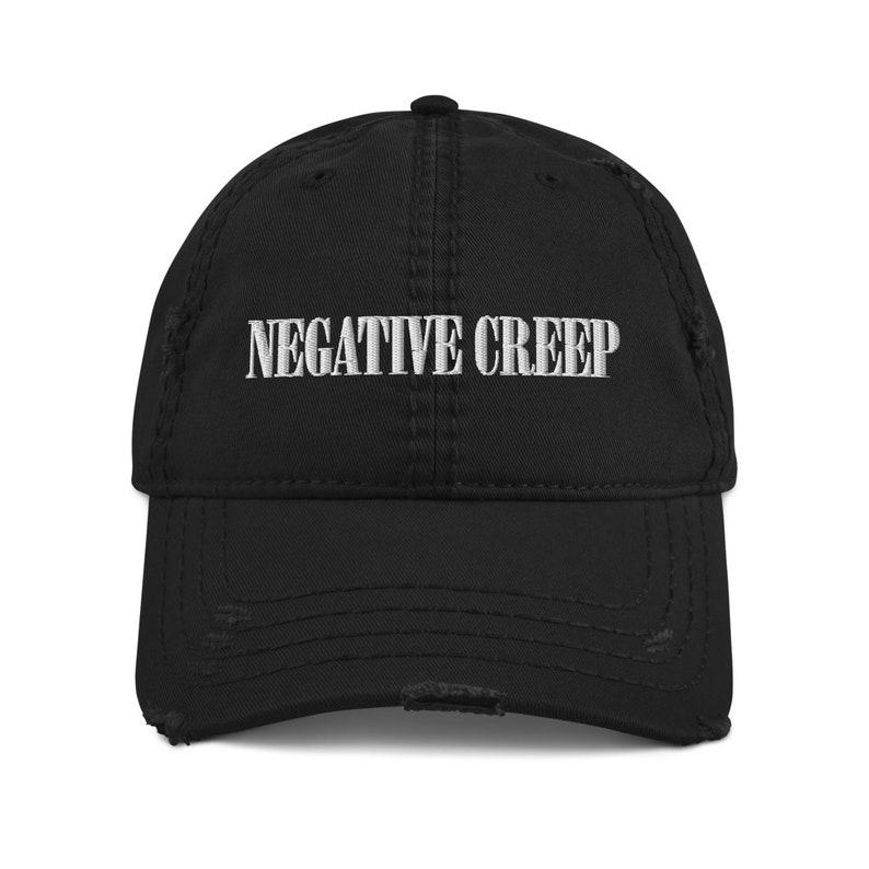 Negative Creep Distressed Dad Hat Black