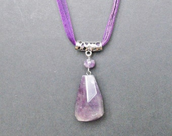 Faceted Amethyst Gemstone Crystal Pendant Ribbon and Cord Necklace