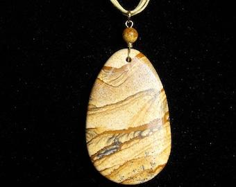 Picture Jasper Pendant Cord Necklace