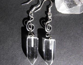 Clear Quartz G Clef Music Symbol Dangle Earrings