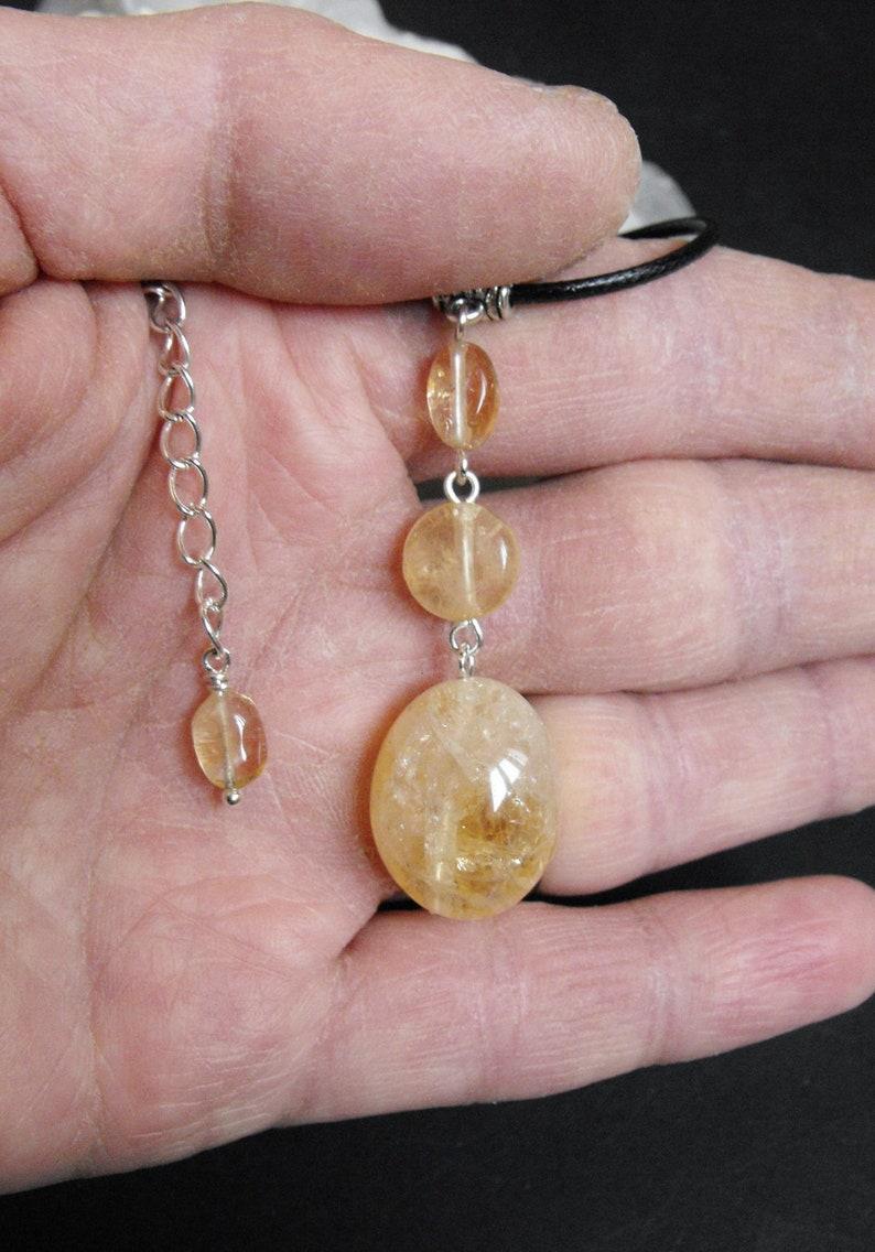 Citrine Gemstone Drop Pendant Cord Necklace