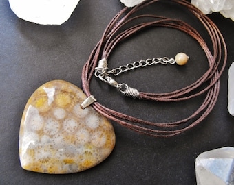 Indonesian Fossil Coral Pendant Cord Necklace