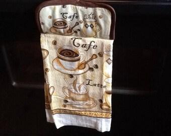 Hanging Cafe Latte Kitchen Towel with Pot Holder