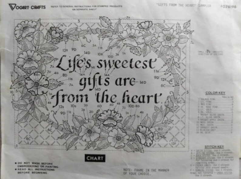 Gifts from the Heart Kit 076196 1970s Needlework Vintage Stamped embroidery kit by Vogart Crafts made in USA Needlepoint