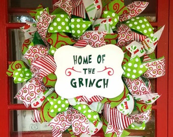 grinch inspired home of the grinch christmas wreath grinch stole christmas wreath grinch home decor christmas mesh wreath