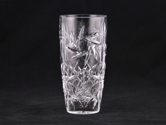 Pinwheel Pressed 8 Crystal Vase 1940s Vintage Thick Etsy