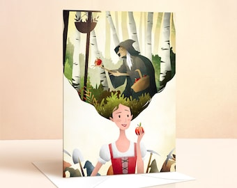 Snow White Card | Birthday Card | Girls Birthday Card | Princess Card | Greeting Card | Fairy Tale | Art Card | Seven Dwarfs | Nursery Art