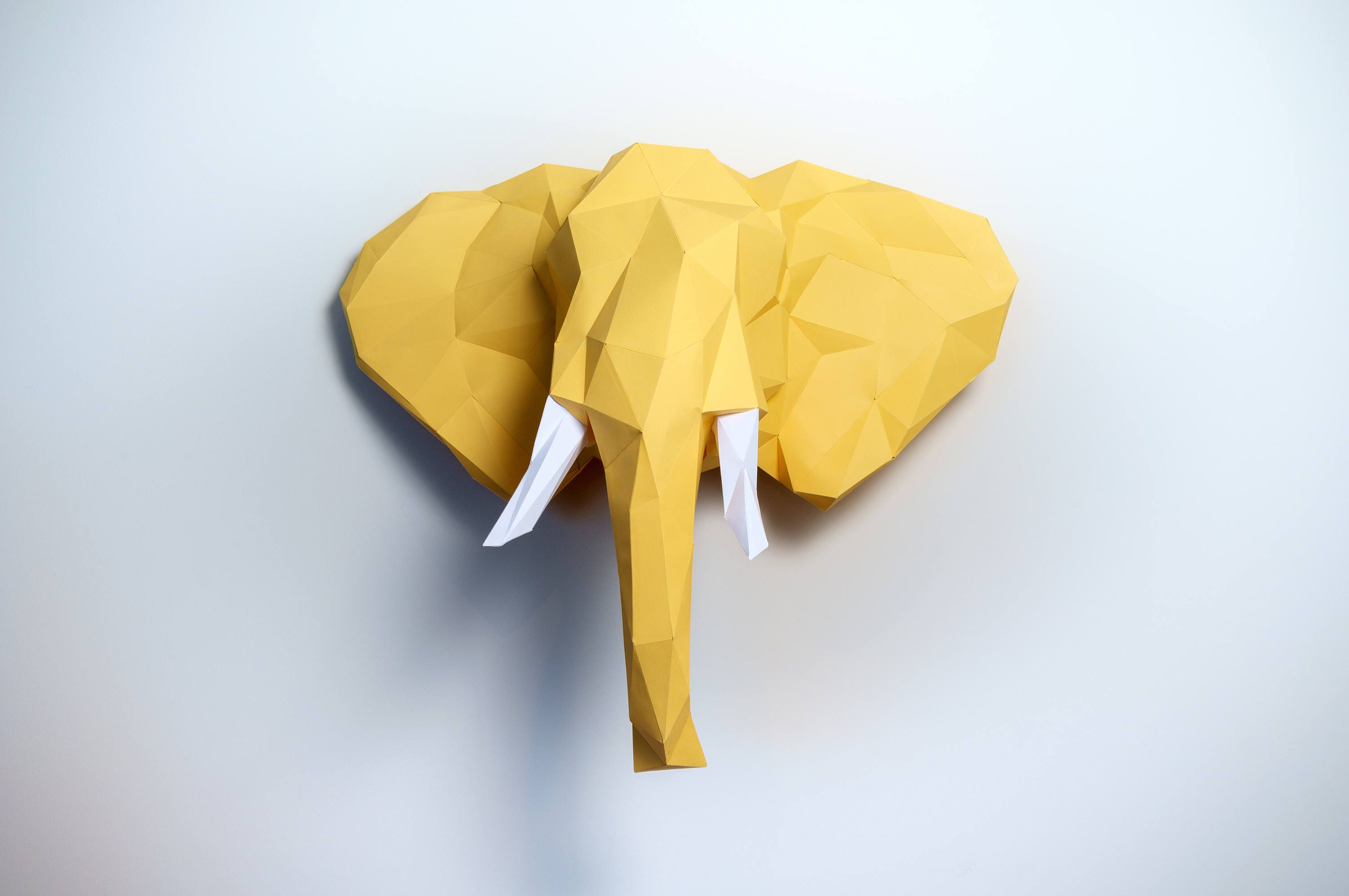 Pre-cut and Pre-scored Elephant Head Kit - Low Poly Animal Head from ...