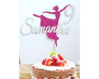 Personalised Ballerina Cake Topper Custom In Glitter