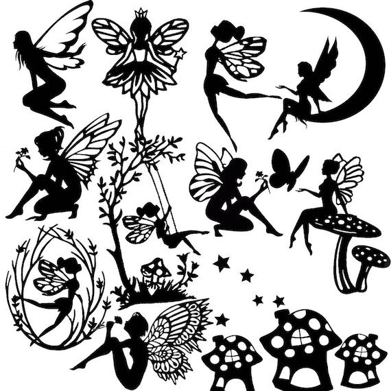 Die Cut Out Fairy Silhouette Fairies Topper X 13 Stars