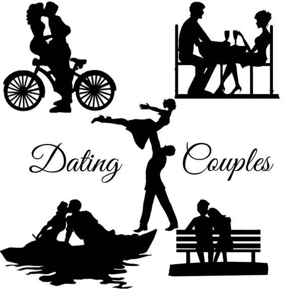 dating couple silhouette die cut out shape x 10 great for etsy