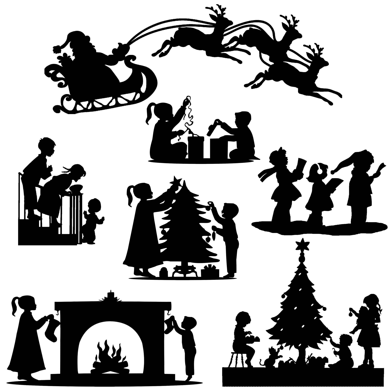 Weihnachten Xmas ausgeschnitten Silhouette 7 X Topper   Etsy