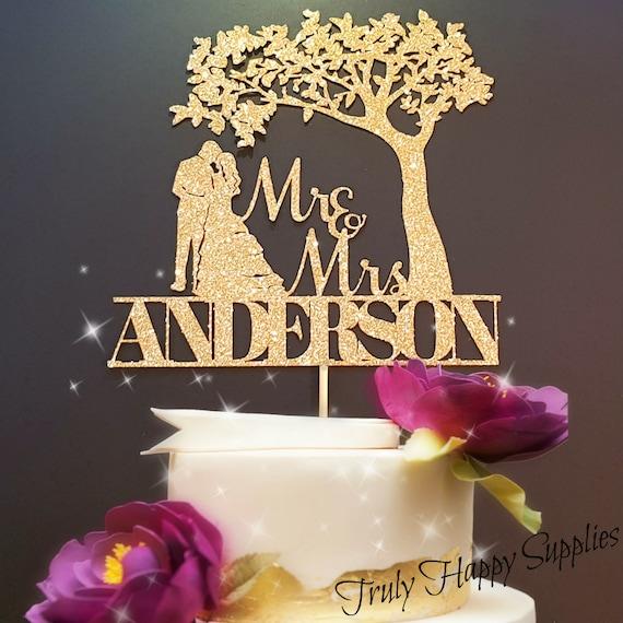65866514ea59 Personalised Wedding Cake Topper Glitter customised cake