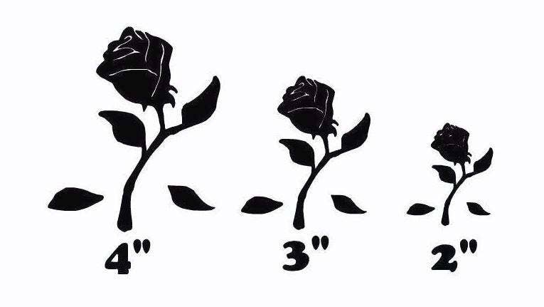 beauty and the beast rose die cut out silhouette 3 sizes etsy