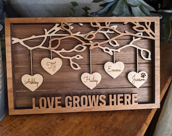 Family Tree Wood Frame - Fully Customized, Mother's Day, Father's Day, Grandma Gift, Mom Gift