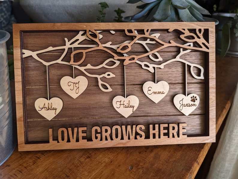 Family Tree Wood Frame  Fully Customized Mother's Day image 0
