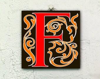 Mattonelle di ceramica di manoscritto miniato lettera etsy