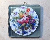 Flowers art tile Sèvres Porcelain on smoked glass tile
