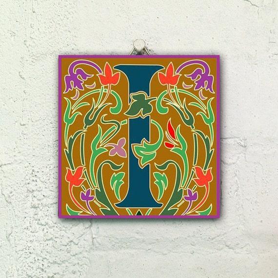 Illuminated manuscript letter J ceramic tile