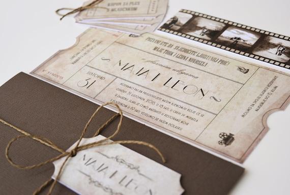 Vintage Cinema Movie Ticket Wedding Invitation Personalized Etsy